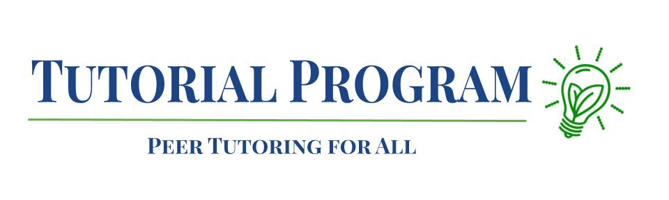 Tutorial Program logo, which reads Tutorial Program, Peer Tutoring for All. There is an image of a lightbulb with leaves inside.